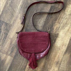 Fossil Wine Emi Leather Tassel Bag
